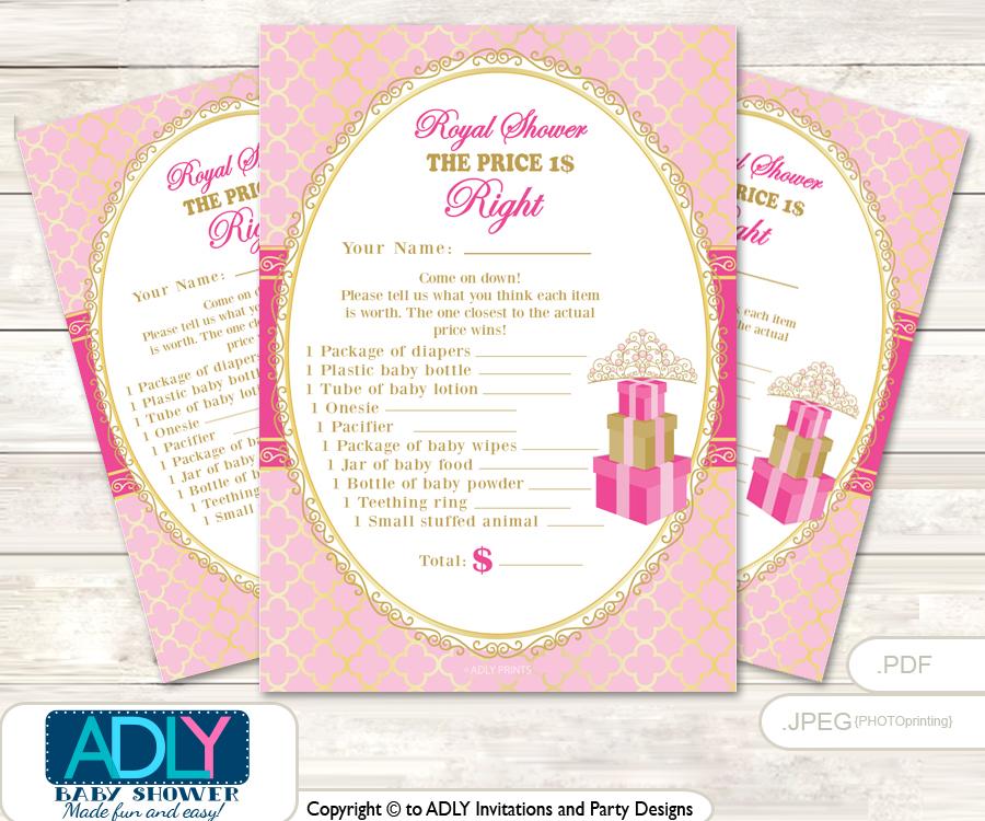 Printable Crown Tiara Price is Right Game Card for Baby Tiara Shower, Pink  Gold, Royal