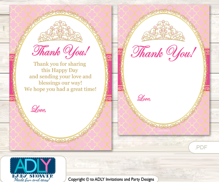 Crown Tiara Thank You Cards For A Baby Crown Shower Or Birthday Diy