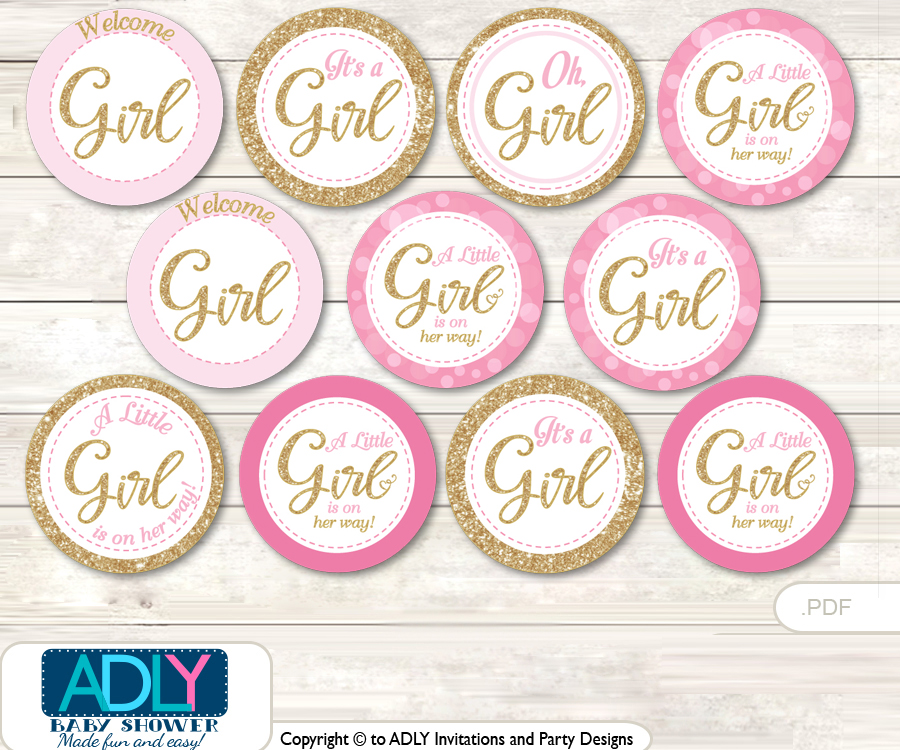 photo regarding Baby Shower Tags Printable identified as Kid Shower Female Bokeh Cupcake Toppers Printable Document for Tiny Woman and Mommy-in the direction of-be, prefer tags, circle toppers, Glitter, Gold Crimson