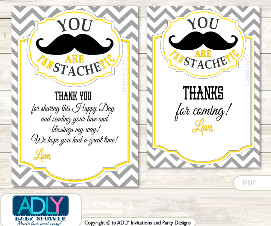 Yellow Mustache Thank You Cards For A Baby Yellow Shower Or Birthday