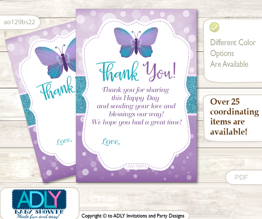 Purple Butterfly Thank You Cards For A Baby Purple Shower Or