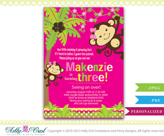 Personalized Girl Monkey 3rd Birthday Invitation Card Printable DIY Third Invite Turning Three