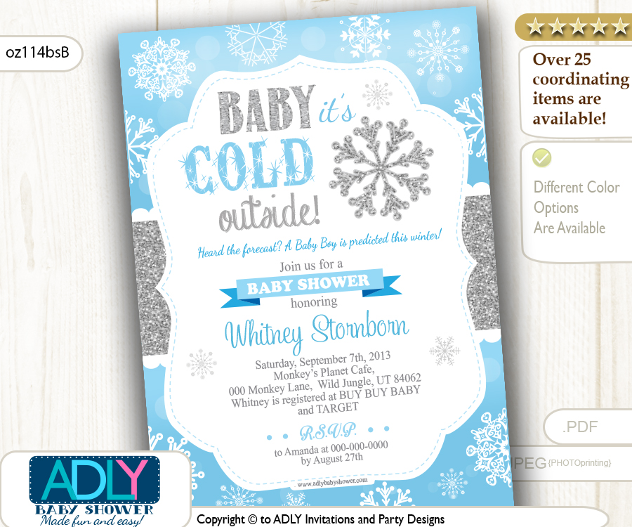 snowflake invitation for boy winter shower baby blue and silver