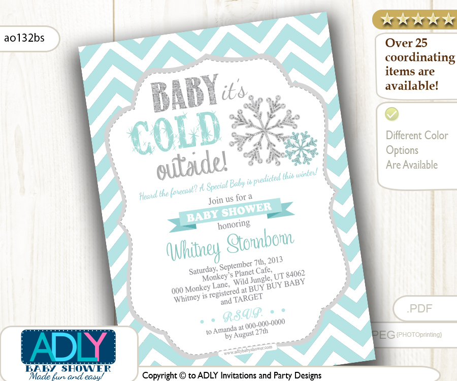 tiffany blue snowflake invitation for winter baby shower gender