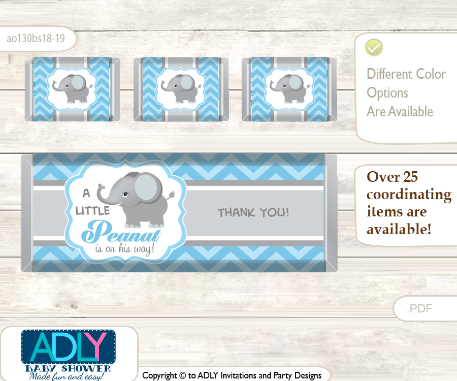 Boy Elephant Chocolate Bar Wrapper And Nuggets Candy Wrapper Label
