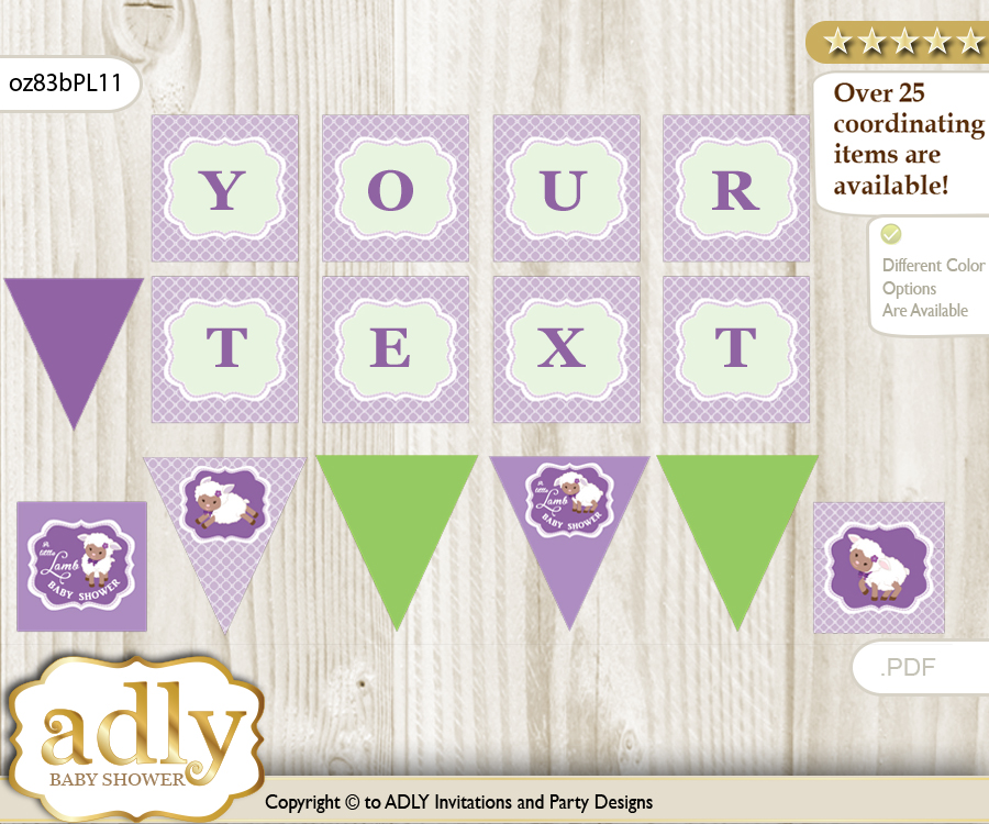 personalized girl lambie printable banner for baby shower lime