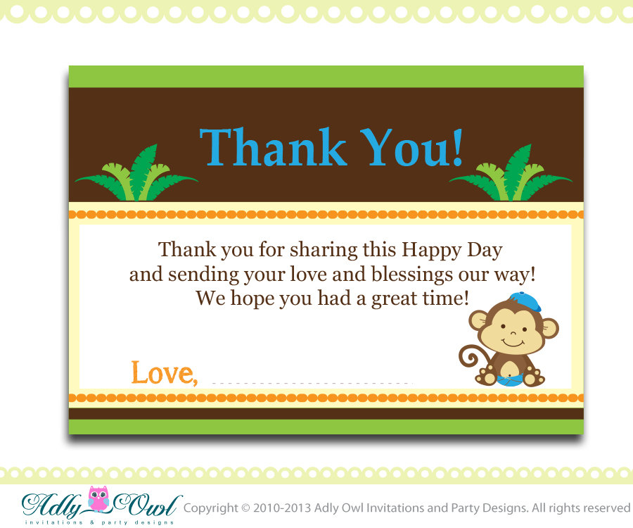 Boy Monkey Baby Shower Birthday Thank You Note Card Thank You Tag