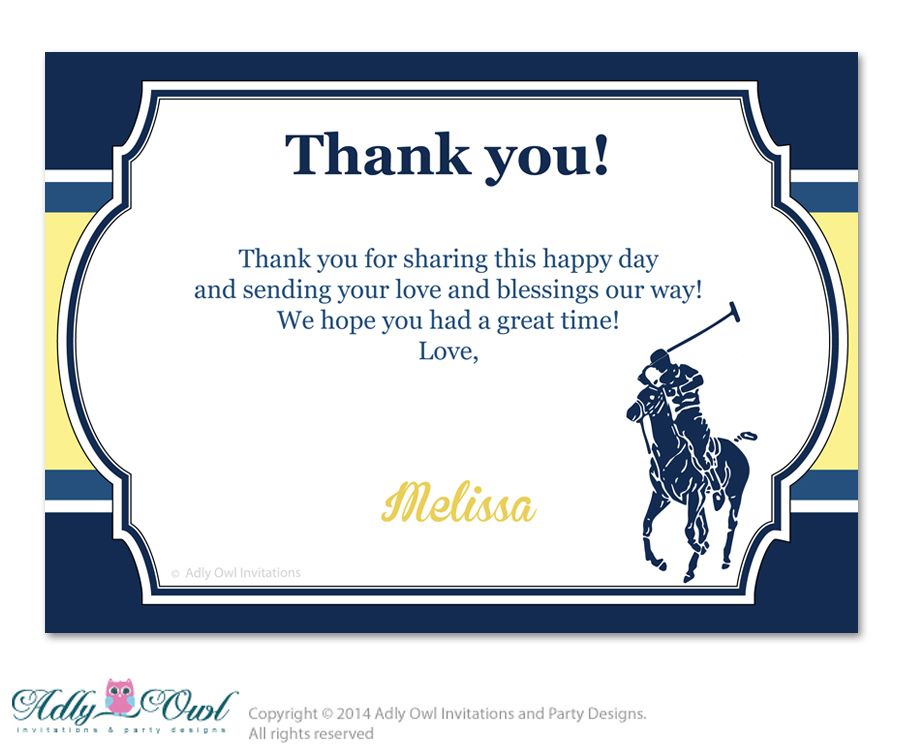 Boy Polo Thank You Card With Personalization Boy Polo Baby Shower Or