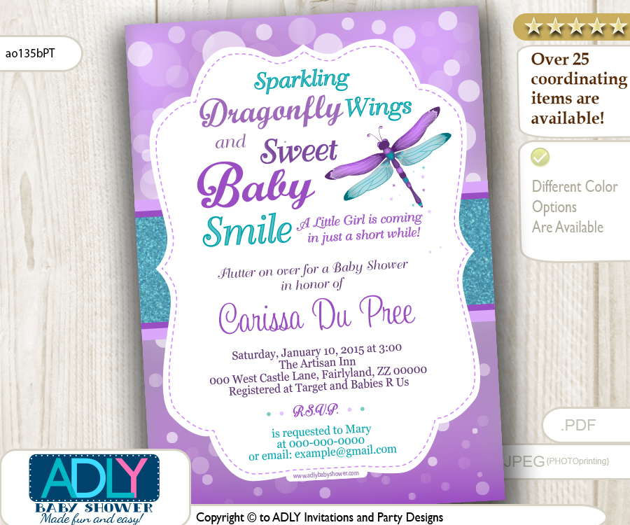 Purple And Teal Dragonfly Baby Shower Invitation Turquoise