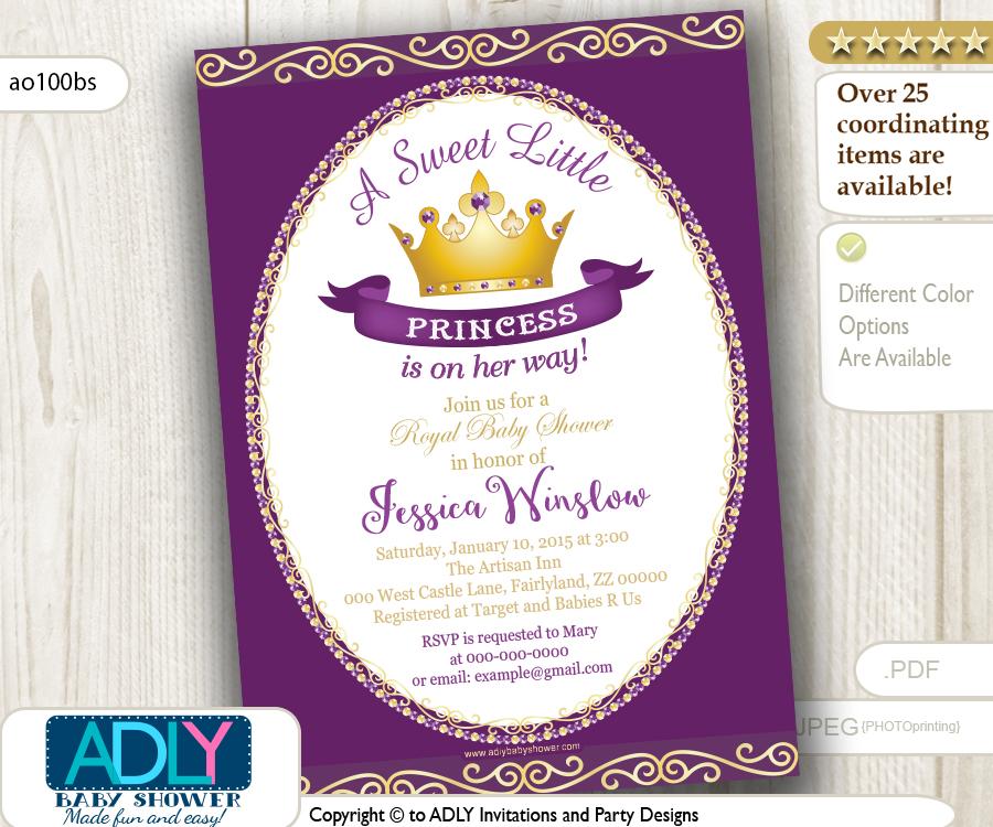 Purple Princess Baby Shower Invitation For Girl Pink Gold Golden