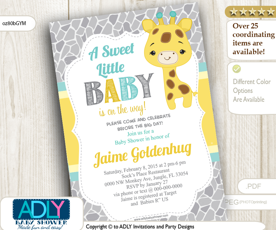 neutral giraffe shower invitation grey yellow and mint adly