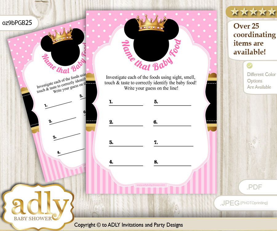 Minnie Mouse Guess Baby Food Game Or Name That Baby Food Game For A
