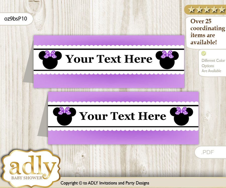printable minnie mouse buffet tags or food tent labels for a baby