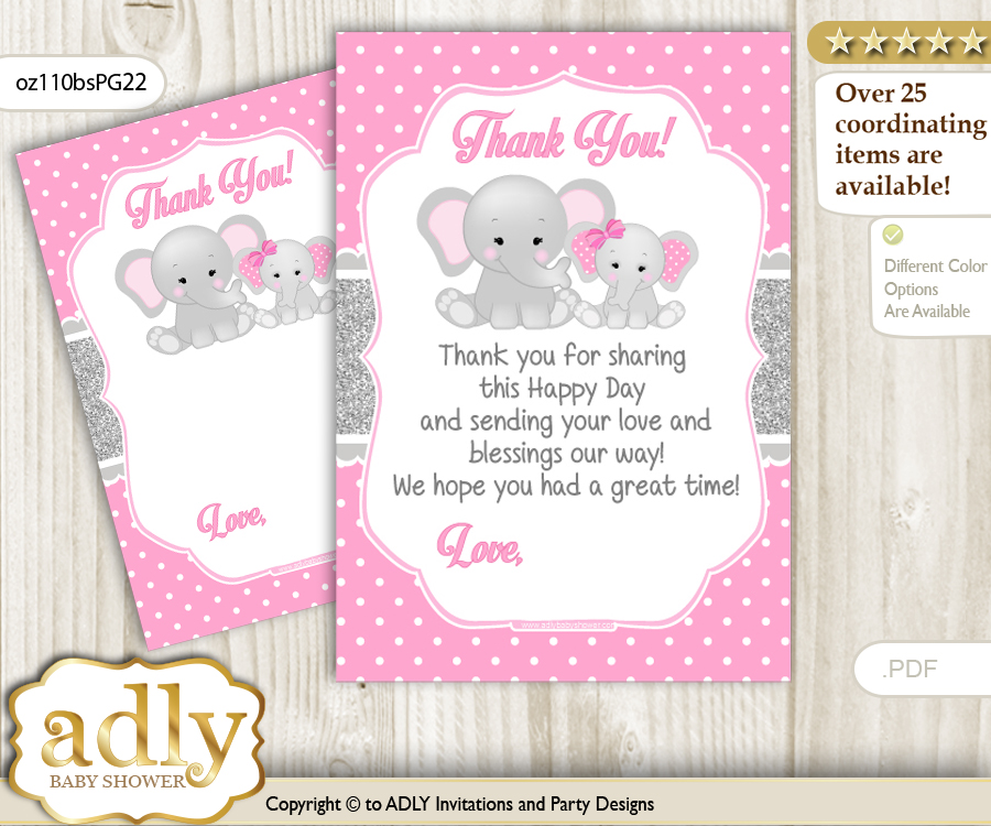Girl Elephant Thank You Cards For A Baby Girl Shower Or Birthday Diy
