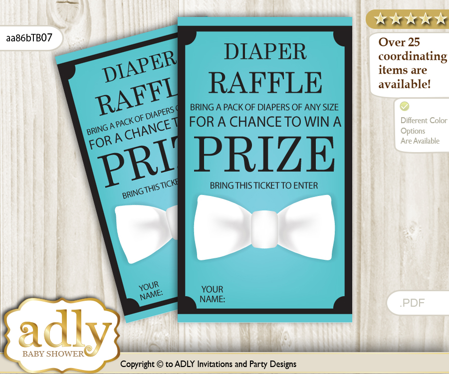 boy bow tie diaper raffle printable tickets for baby shower white