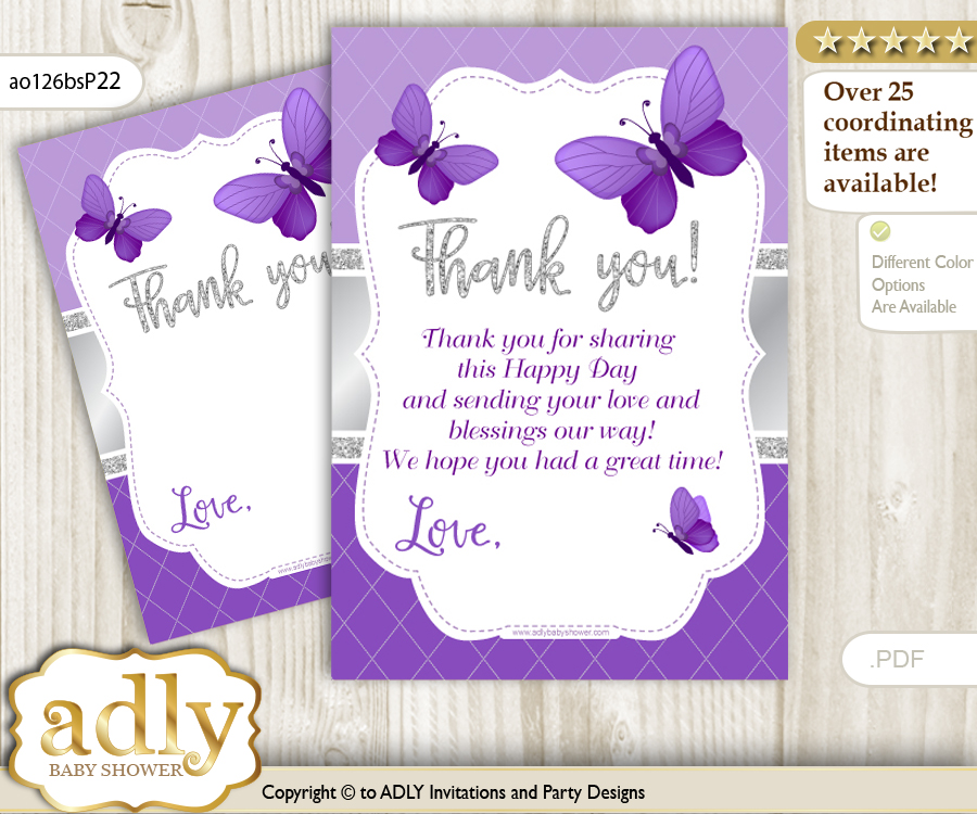 Girl Butterfly Thank You Cards For A Baby Girl Shower Or Birthday