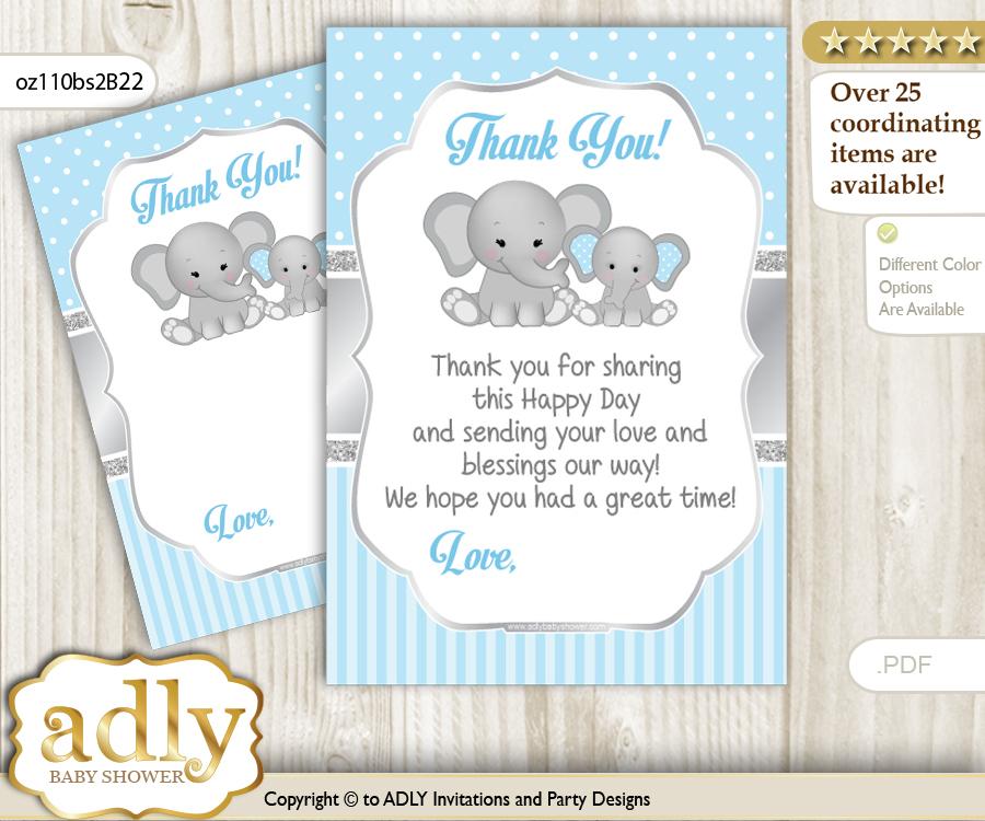 Boy Elephant Thank You Cards For A Baby Boy Shower Or Birthday Diy