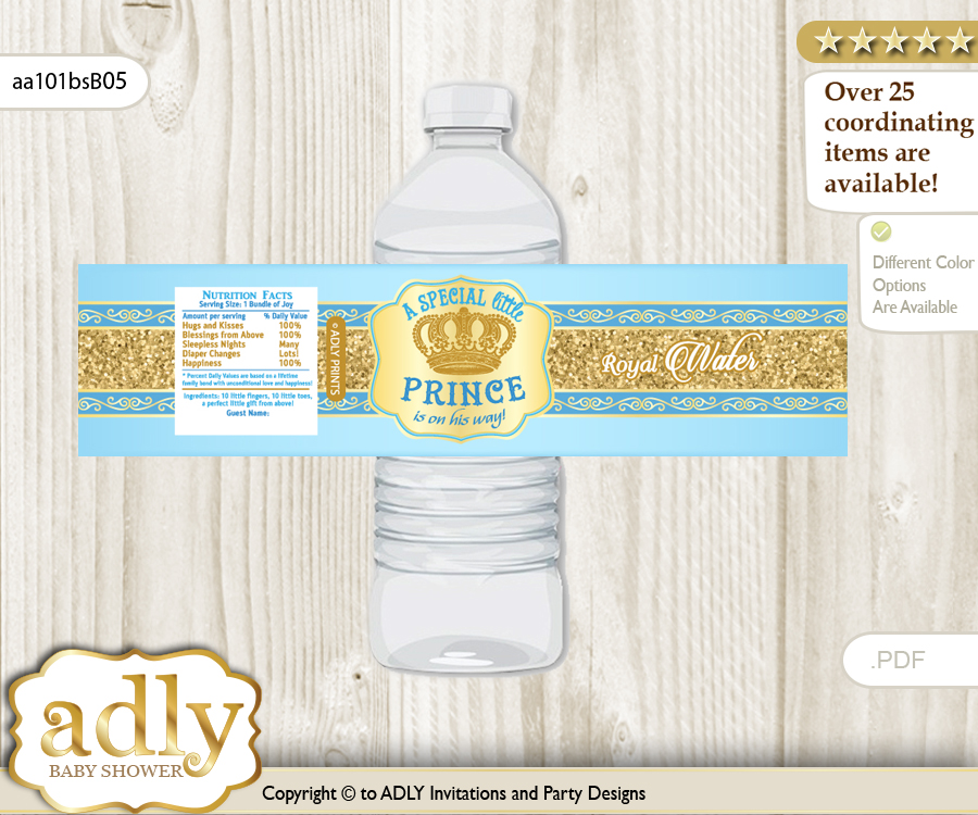 Royal Prince Water Bottle Wrappers Labels For A Prince Baby Shower