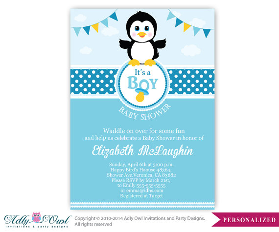 Boy Penguin Baby Shower Invitation Penguin Party Card For A Baby
