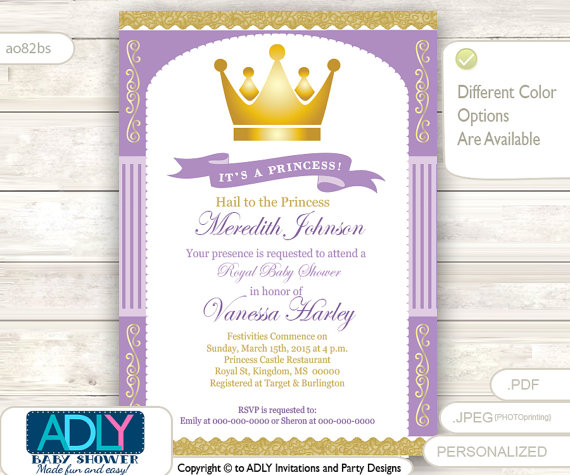 Purple Gold Princess Baby Shower Invitation For Girl Stripes