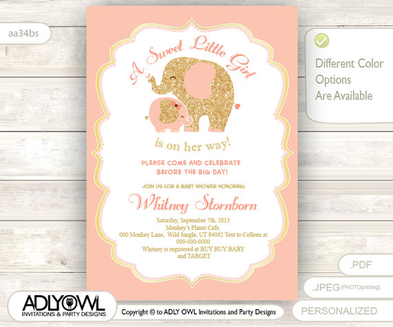 Coral Peach Pink Elephant Baby Shower Invitation Card A Sweet