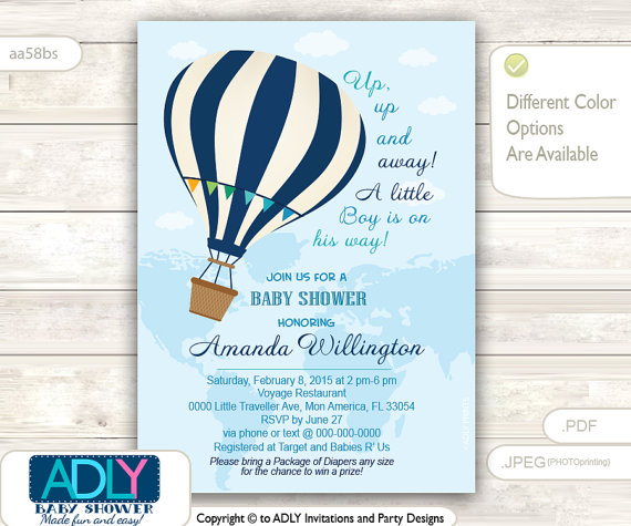 Blue Hot Air Balloon Baby Shower Invitation Oh The Places You Ll Go