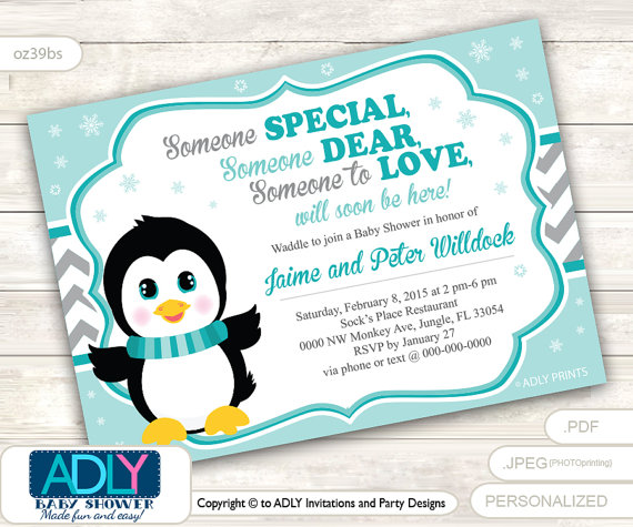 Boy Penguin Invitation For Baby Shower With Light Turquoise And Grey