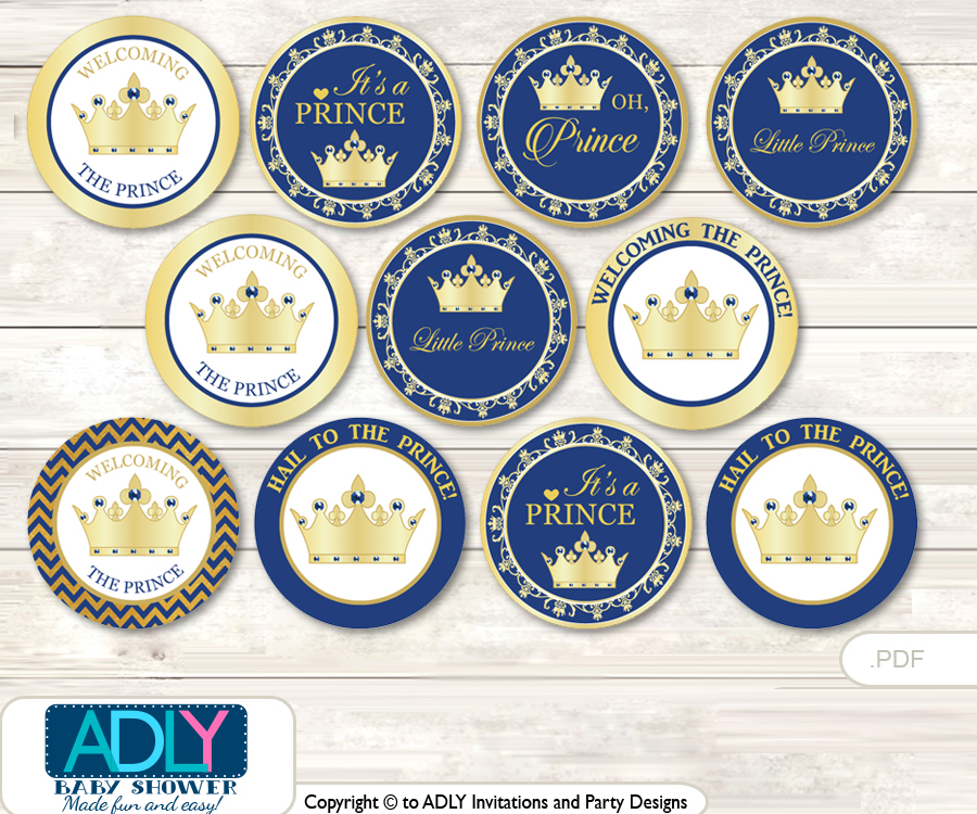 Baby Shower Crown Prince Cupcake Toppers Printable File For Little