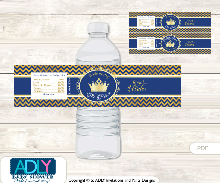 Crown Prince Water Bottle Wrappers Labels For A Prince Baby Shower Gold Blue Chevron