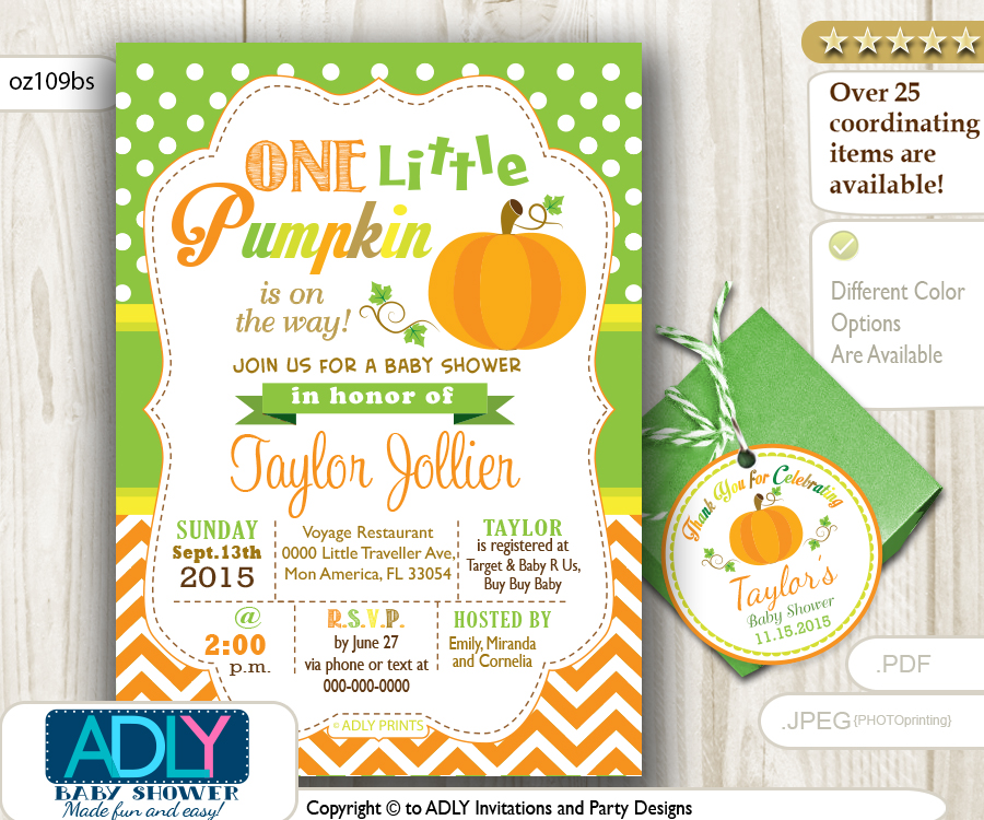 gender neutral pumpkin invitation plus thank you tags for baby