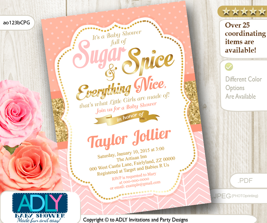sugar and spice shower invitation in coral pink and gold glitter