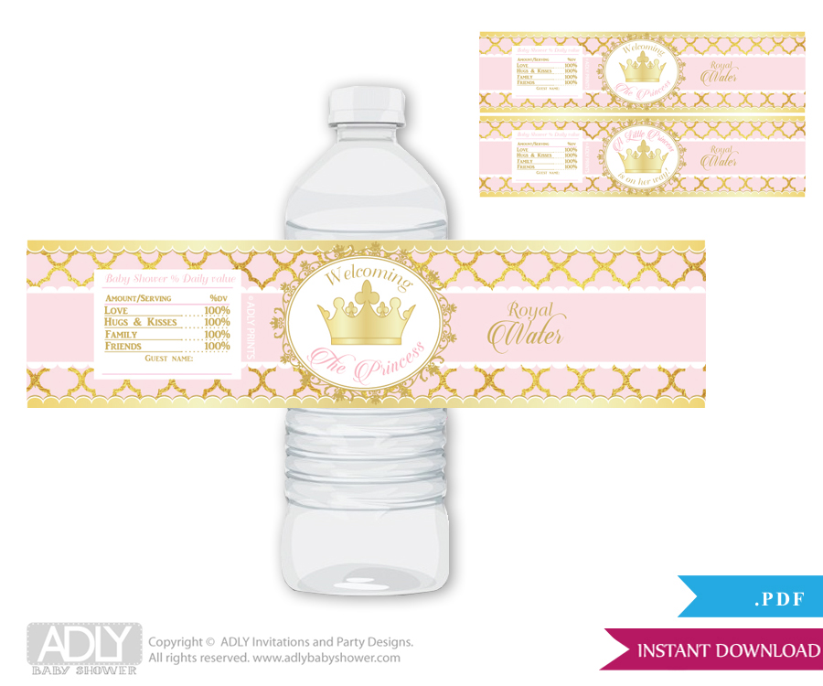 Princess Royal Royal Water Bottle Wrappers Labels For A Royal Baby