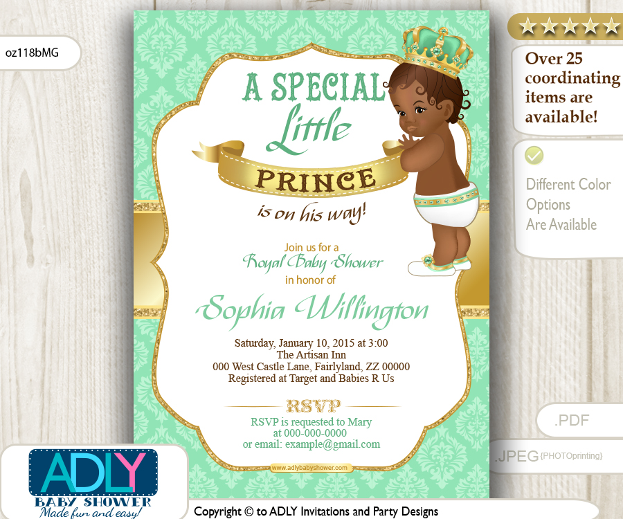 Mint Green Gold African American Prince King Invitation For Baby Shower