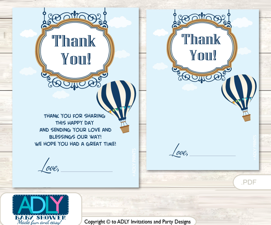 Hot Air Balloon Thank You Cards For A Baby Hot Airshower Or Birthday