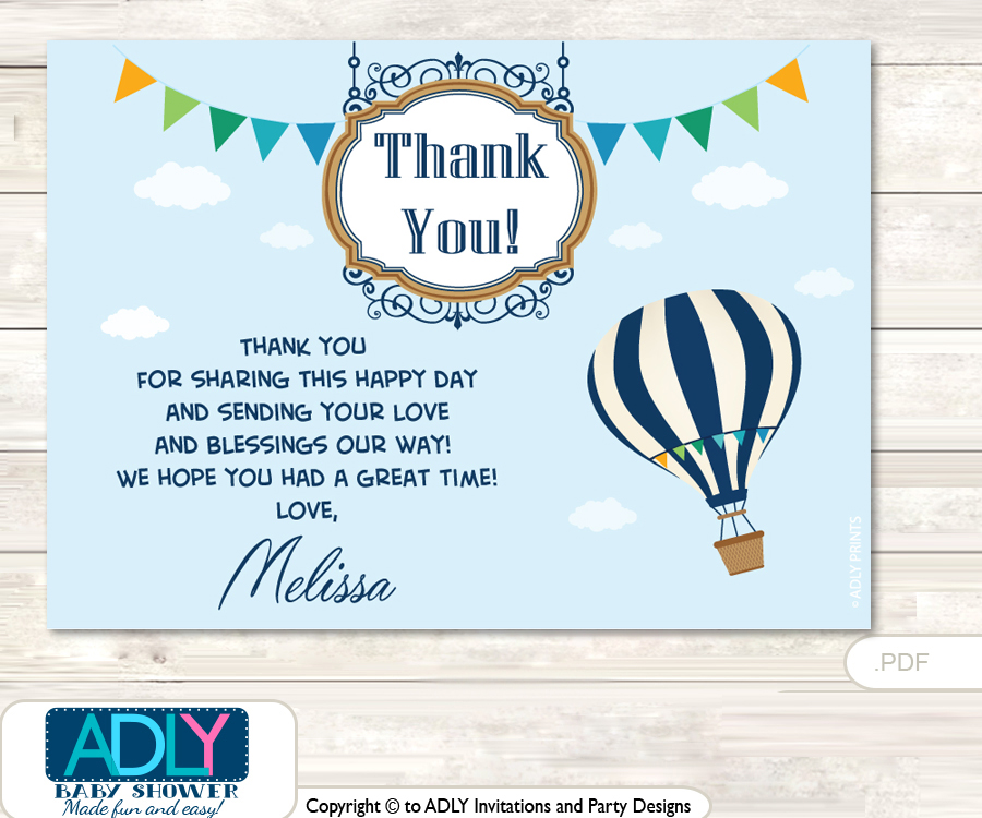 Hot Air Balloon Thank You Printable Card With Name Personalization