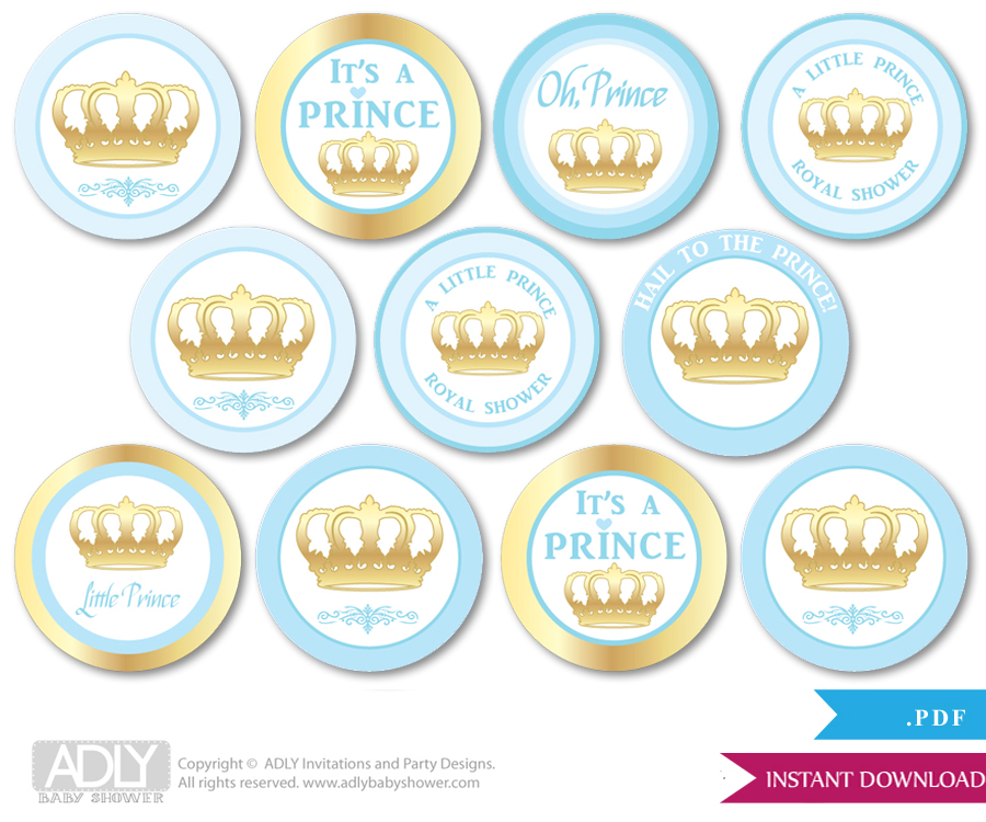 Baby Shower Blue Gold Prince Cupcake Toppers Printable File For