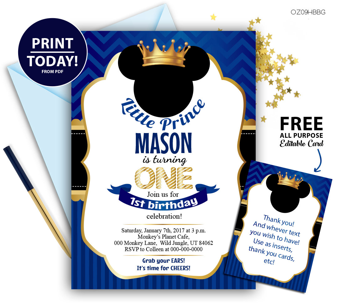 This is a photo of Mickey Mouse Baby Shower Invitations Printable inside background
