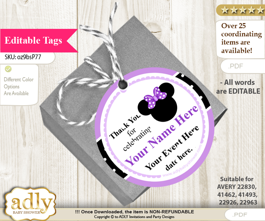 minnie mouse thank you tags circle favor tags personalizable for
