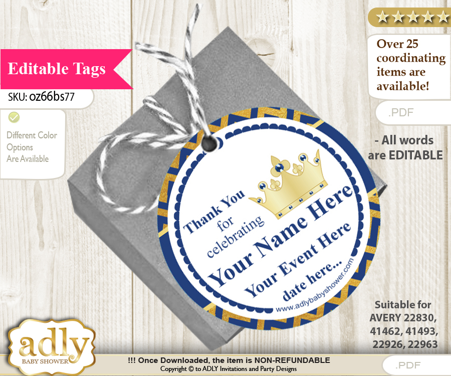 crown prince thank you tags circle favor tags personalizable for
