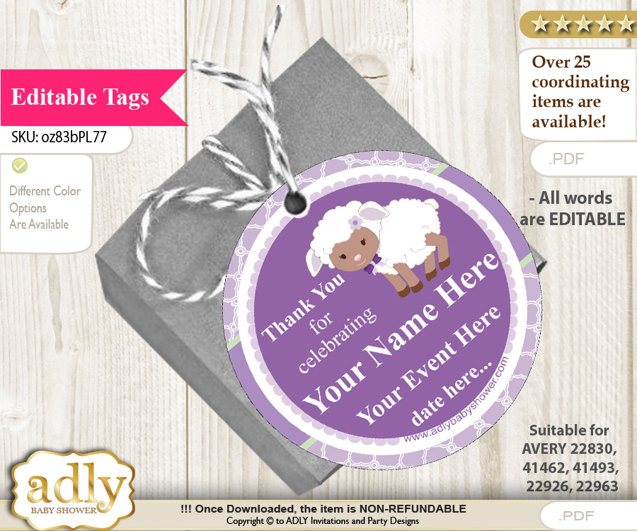 girl lambie thank you tags circle favor tags personalizable for