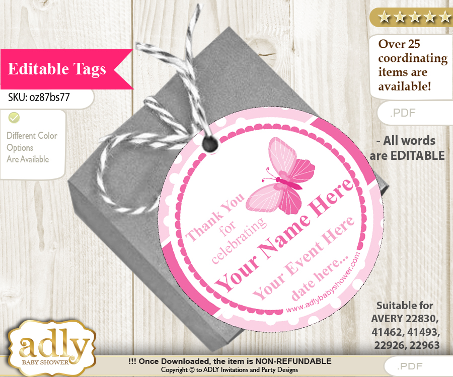 pink butterfly thank you tags circle favor tags personalizable for