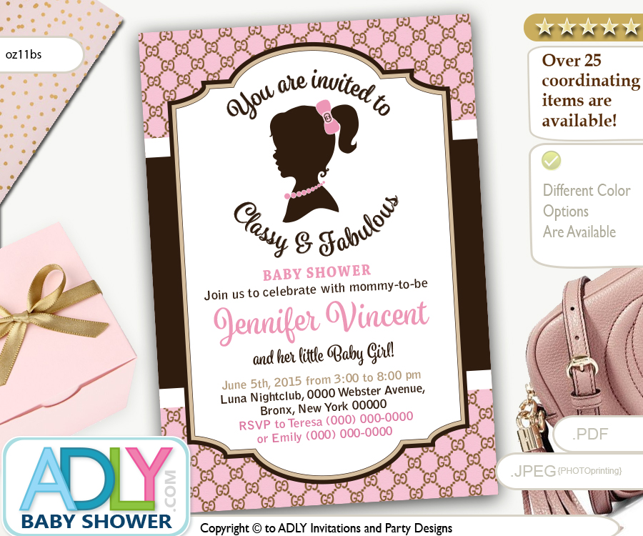 vintage classy and fabulous gucci inspired baby shower invitation