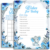 Blue Gray Cute Boy Elephant Baby Shower