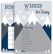 Navy Blue Gray mountain Baby Shower