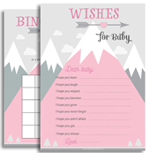 Pink Gray Mountains Baby Shower