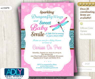 Girl Dragonfly Baby Shower Invitation In Pink Teal Turquoise Brown Colors