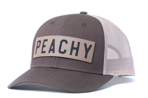 Peachy (Rough, Leather Patch) - Trucker Hat - Brown/Tan