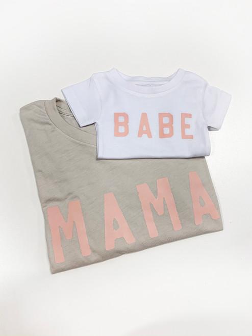 Mama + Babe - Rough - Stone Unisex Adult Tee & White Kids Tee - Set