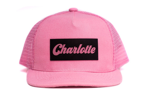 Leather Charlotte Custom Name Retro Pink Trucker