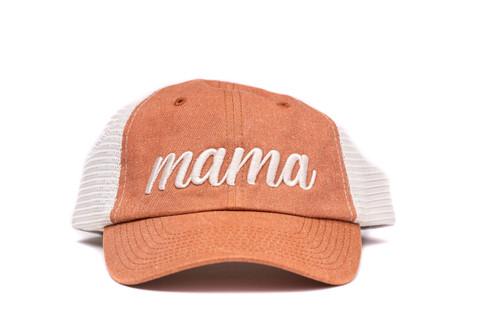 Mama (3D Puff) - Mesh Baseball Hat - Tan/Vintage Rust
